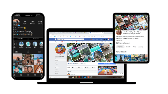 a phone that's on instagram, a laptop that's on facebook and a tablet that is on pinterest.