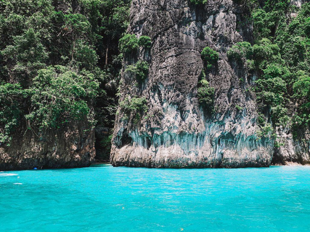 beautiful limestone cliffs by Phi Phi island in Phuket, Thailand
