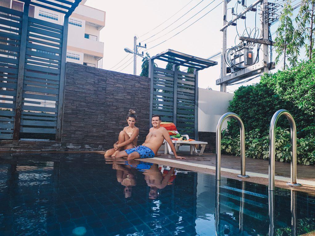 Chane and Jonathan enjoying the pool at their Ratchaburi home.