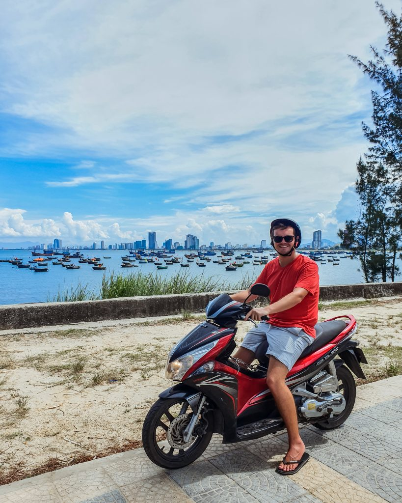 Jonathan on a scooter in Da Nang Vietnam