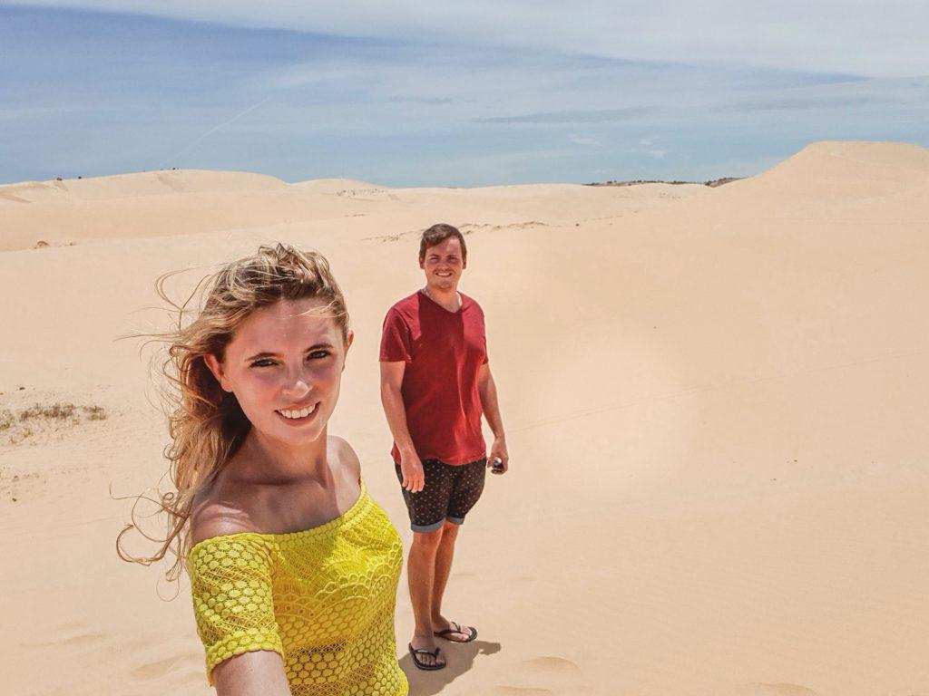 Chane and Jonathan at the white sand beaches in Mui Ne, Vietnam