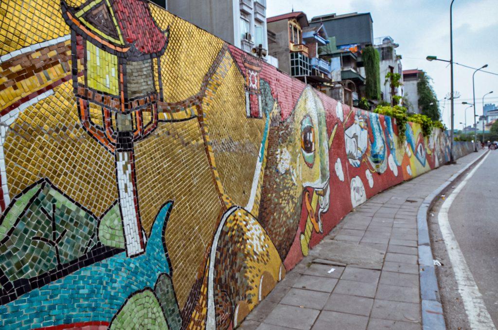 six kilometre mosaic wall in Hanoi Vietnam