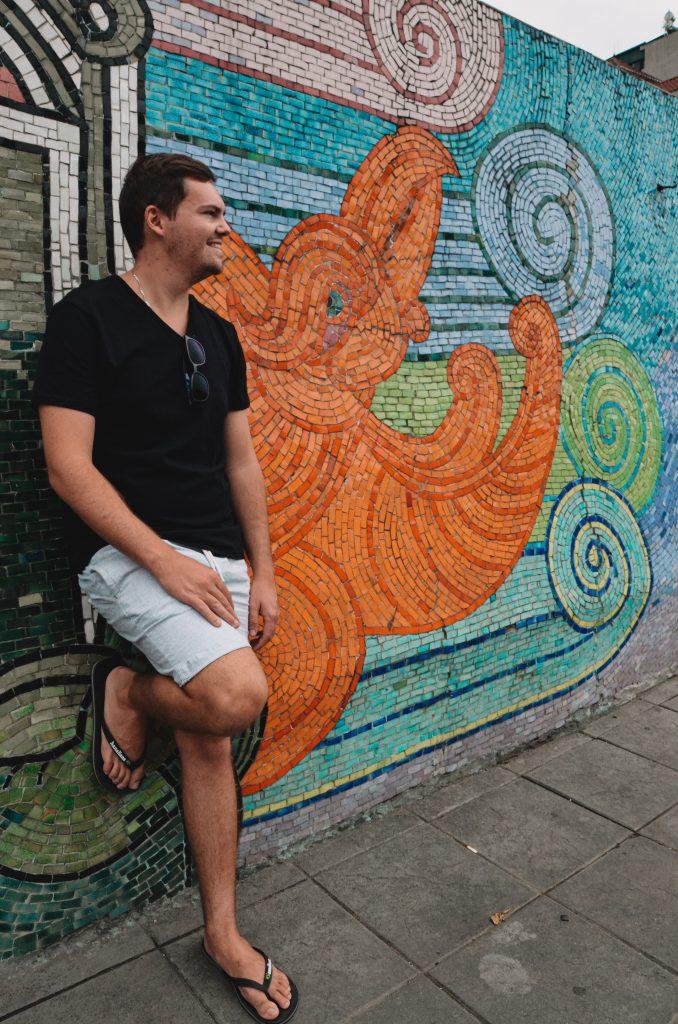 a beautiful mosaic wall in Vietnam