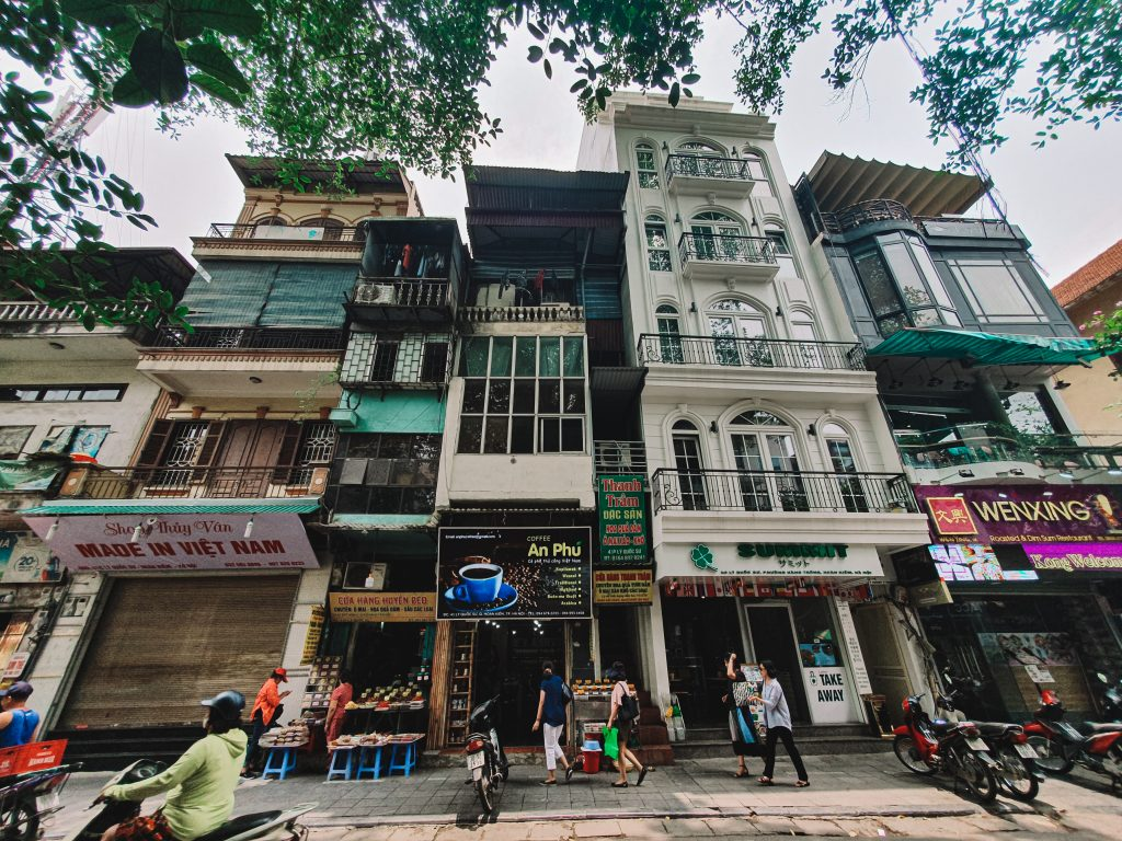 buildings in the streets of Hanoi.