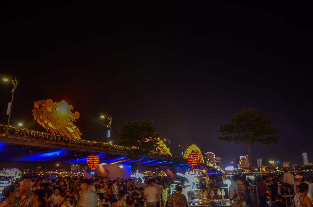 the dragon bridge at night