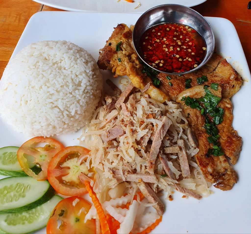 broken rice and pork chop is famous in the north of Vietnam