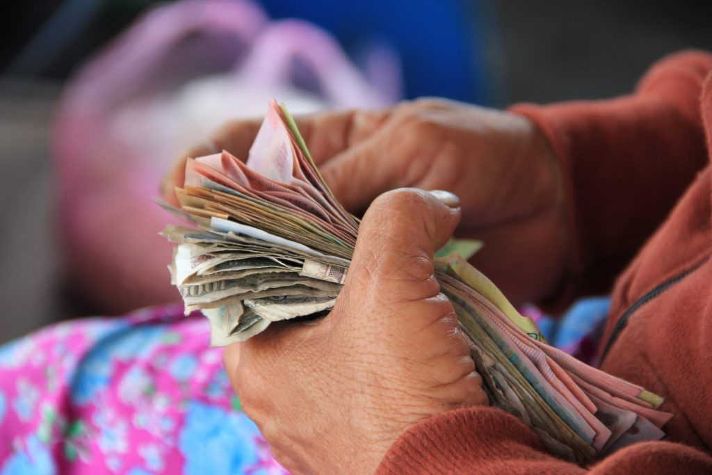 Vietnam lady with  money in hand