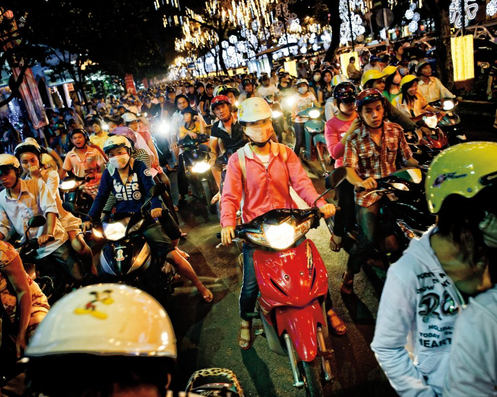 the busy streets of Vietnam