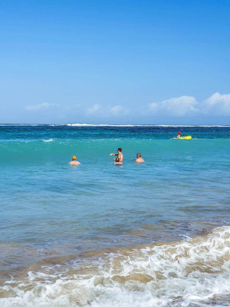 swimming at Nusa Dua beach on  Bali island