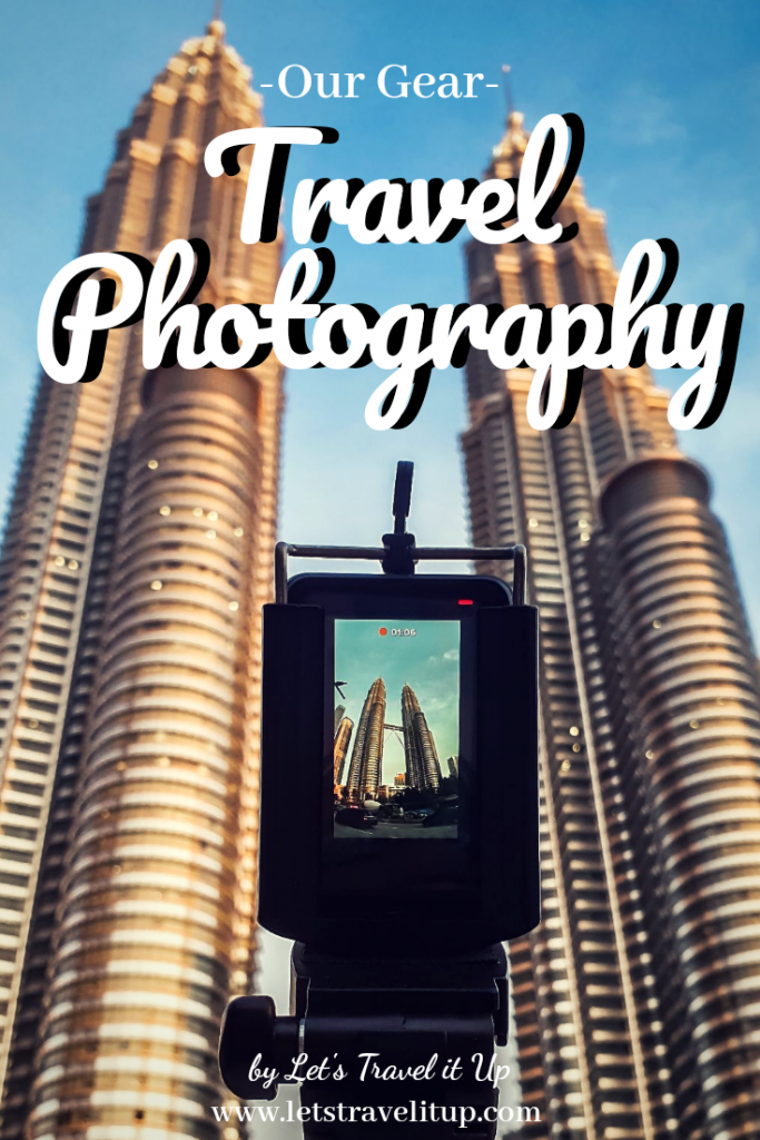 pinterest image for what is in our camera bag? Travel photography