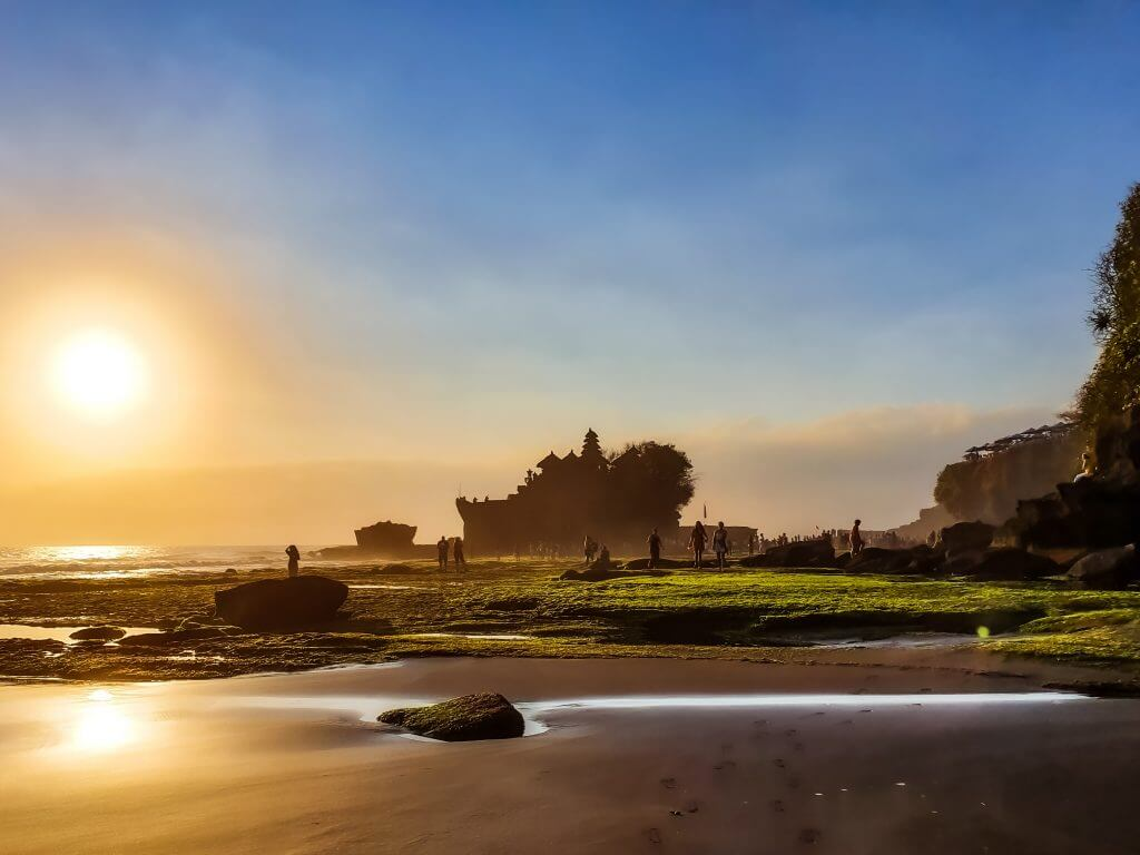Tanah Lot Temple and the b;ack beach