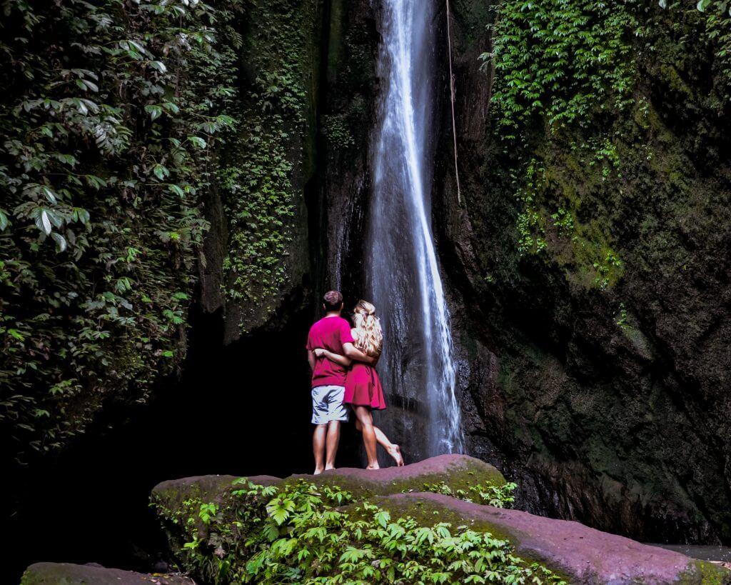 Chane and Jonathan admiring Leke Leke waterfall in the North of Bali