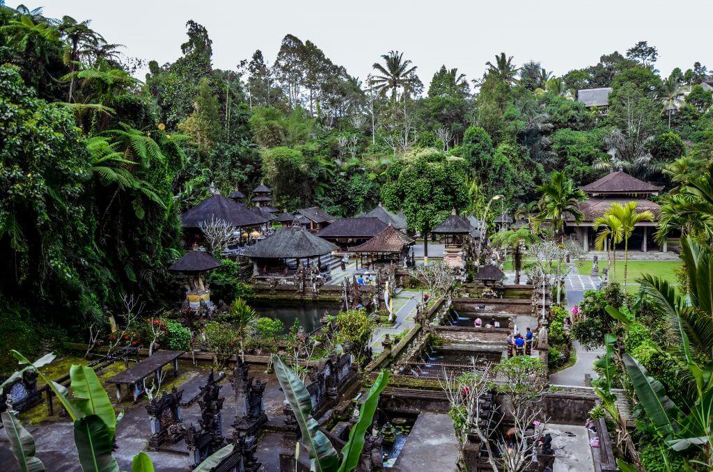 the Gunung Kawi Sebatu temple from above in the north of Bali, Indonesia
