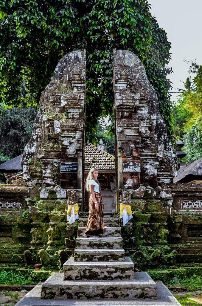 Chane embrassing the culture are Gunung Kawi Sebatu temple in Bali