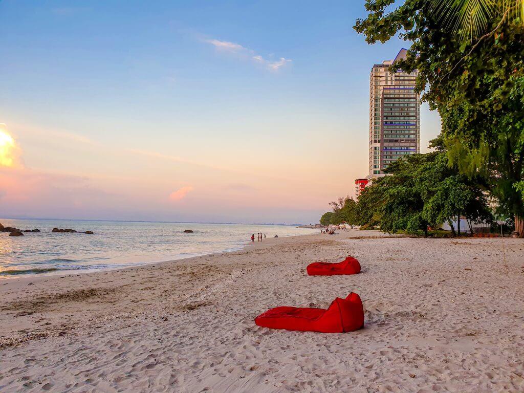 beautiful beach on Penang island in Malaysia